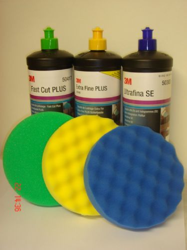 3M Perfect-it III Tripple Set of 3 Polish Compound & 3 150mm Pads